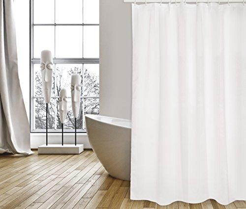 """MSV Cotexsa by Premium Anti-Schimmel Textil Duschvorhang - Anti-Bakteriell, waschbar, 100% wasserdicht, mit 12 Duschvorhangringen - Polyester, """"Uni"""" Weiß 180x200cm – Made in Spain"""