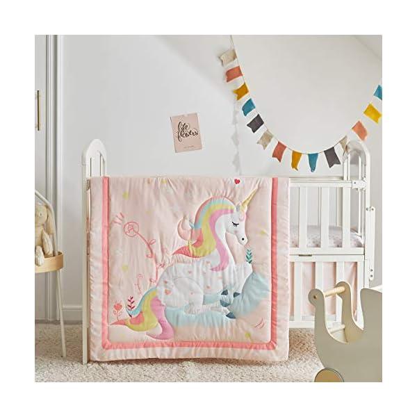 Uozzi Bedding Pink Unicorn Floral 3-Piece Baby Crib Bedding Set Cute Magic Style with Rainbow and Stars