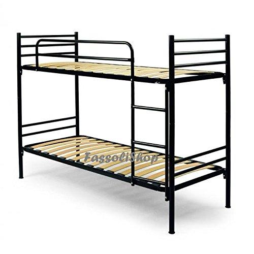 FassoliShop Litera metálica Negro cm 80x190 (Total 80x203x150) con Escalera para Acceso a la Cama Superior con colchón y Almohadas Incluidas: Amazon.es: Hogar