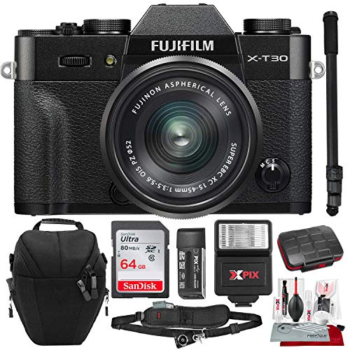 Fujifilm X-T30 4K Wi-Fi Mirrorless Digital Camera with XC 15-45mm Lens Kit - Black with 64GB Deluxe Bundle and Travel Photo Cleaning Kit