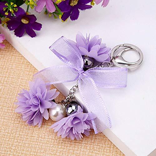 VYZSD sleutelhanger, stof, roze, bloemen, kristal, voor auto, voor vrouwen, bedels, sleutelhangers, accessoires, chiffon, eiken, sleutelhangers