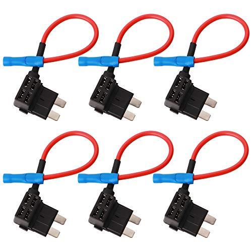 GTIWUNG 6Pcs 32V Portafusibili a Lama con Filo, Aggiungere Un Circuito Fusibile Tap, Standard Add-a-circuit Portafusibile, Piggy-Back Portafusibili Di Medie Dimensioni