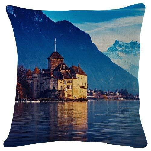 Duang Dekokissenbezüge Schweiz See Genf Stadt Berge Schnee Werfen Kissenbezug Couch Office Mode Familie 45X45Cm Doppelseitige Dekorative Dauerhafte Sofa Couch Druckparty Personalisierte