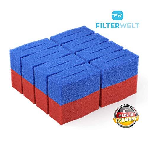 16x Ersatz Filter Schwamm passend für Oase BioTec 12 Screenmatic   Set 8X Blau 8X Rot - Koi Teich Ersatzschwämme   Ersatzteile Durchlauffilter Wasserklärer