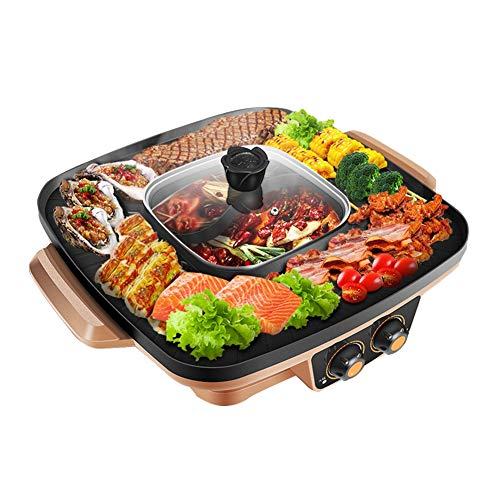 YJIUJIU Electric BBQ Hot Pot, Elektrischer Thai Grill und Hot Pot Tragbarer Tlektrischer Grill Indoor-Grill, Geeignet für 2-3-Personen-Familienabendessen,Gold