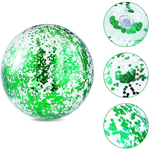 Hsei 3 Pieces Inflatable Beach Ball Glitter Beach Ball Floatable Confetti Ball for Summer Beach, Pool and Party Favor (Green)
