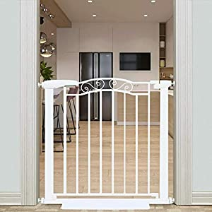 Fairy Baby Narrow Baby Gates for Doorway Stairs Safety Child Gate for Kid or Pet Dogs Walk Through Pressure Mounted 32.28″-35.04″