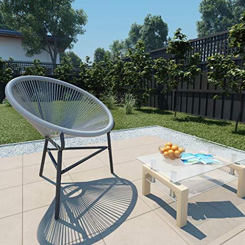 Festnight Chaises de Jardin en résine tressée Chaise d Exterieur Chaise pour terrasse Fauteuil Gris 69 x 66 x 87 cm