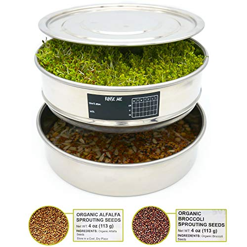 Stainless Steel Seed Sprouting Tray - 3 Piece Stackable Sprout Growing Kit, Broccoli and Alfalfa Seeds, Date Sticker and Pen Set Plus One Mystery Gift