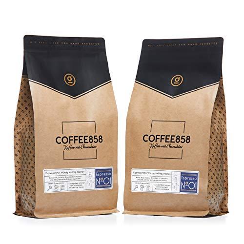 Espresso N°01 Dark Edition – Dunkler Espresso – Feinster Arabica Robusta Blend – Kaffee-Bohnen für Vollautomaten und Siebträger – 1KG (2x500g) Espresso-Bohnen