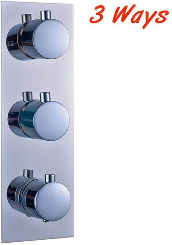 MICHEN Thermostatic Faucet Cartridges Triple Mixer Valve Chrome ORB Brass 34 Ways Water Outlet Mixer Valve for Shower Set Panel,A