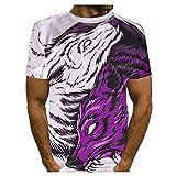 YSYOkow Moda Fresca 3D Lobos Impresión Camisa Cuatro Temporadas Hombres Camisetas Tops Casual Masculino O-Cuello Manga Corta Camisas