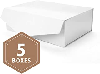 PACKHOME Large Gift Boxes Rectangular 14x9.5x4.5 Inches Bridesmaid Proposal Boxes, Sturdy Storage Boxes, Collapsible Gift Boxes with Magnetic Closure (Glossy White, 5 Boxes)