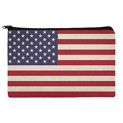 United States of America American USA Flag Pencil Pen Organizer Zipper Pouch Case