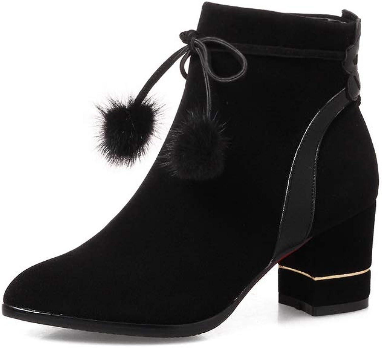 AdeeSu Womens Chunky Heels Pom-Poms Imitated Suede Boots SXE04582