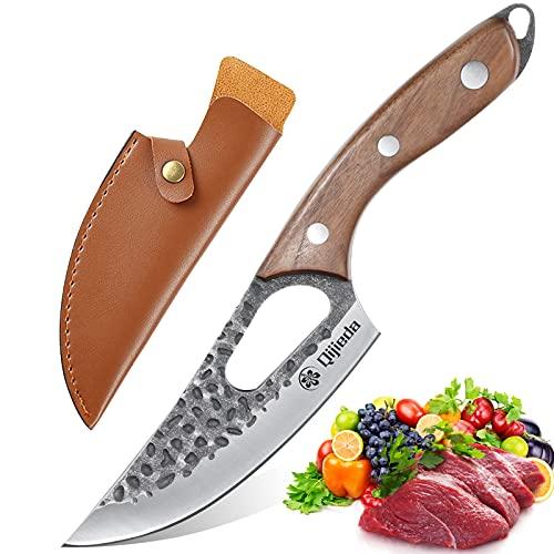 Qijieda Ausbeinmesser Kochmesser Profi Messer - Handgeschmiedetes Hackmesser, Full Tang Edelstahl Küchenmesser Outdoormesser, Scharfe Messer mit Holzgriff zur Verarbeitung von Gemüse und Fleisch