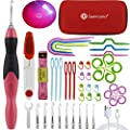 Lighted Crochet Hooks Complete Set, Genround 46pcs Rechargeable LED Lighted Crochet Hook, Incl Interchangeable LED Lite Hooks + Plastic Knitting Needles + Crochet Stitch Markers + Cable Stitch Holders
