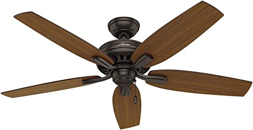"""high quality Hunter high quality Newsome Indoor / Outdoor Ceiling Fan with Pull Chain Control, 52"""", online Premier Bronze outlet sale"""