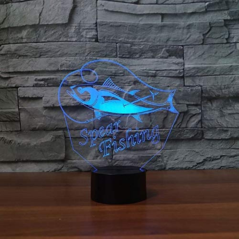 Mozhate 7 Farben 3D Led Speerfischen Tischlampe Schlafzimmer Studie Atmosphre Fisch Nachtlicht Schlaf Leuchte,Remote und berühren