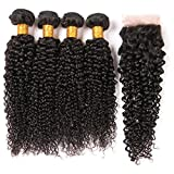 Brazilian Hair Bundles With Closure 4X4 Free Part Lace Front With Baby Hair Pre Plucked Bleached Knots Kinky Curly Human Hair 4 Bundles Sew In Wet And Wavy Hair Extension On Sale 1B 14 16 18 20+12Inch