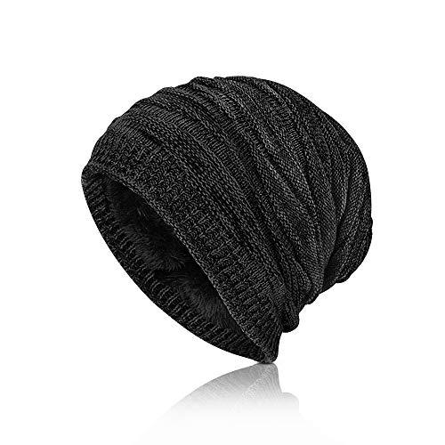 laxikoo Wintermütze Beanie, Strickmütze Herren Damen Warme Mütze mit angesagtes Strickmuster Weichem Fleecefutter