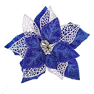 Jim's Cabin Artificial Flowers Pack of 12 Glitter Poinsettias for Christmas Tree Ornaments Butterfly Christmas Gold Decorations(Blue)