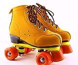 BCLGCF Patines De Ruedas para Hombres Y Mujeres Patines De Doble Fila, Patines De Cuero De PU Diseño De Zapatos De Caña Alta Unisex, Patines Interiores Y Exteriores para Adultos, Amarillo,43
