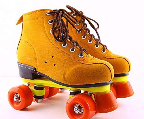 BCLGCF Patines De Ruedas para Hombres Y Mujeres Patines De Doble Fila, Patines De Cuero De PU Diseño De Zapatos De Caña Alta Unisex, Patines Interiores Y Exteriores para Adultos, Amarillo,39