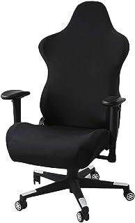 Macabolo Funda para silla ergonómica de poliéster y spandex, elástica, para oficina, ordenador, carreras, gaming, color negro