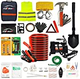 AUTODECO Car Roadside Emergency Kit– Premium,13.5 Foot Jumper Cables– Heavy Duty Car Roadside Emergency Kit, Portable Air Compressor, Tow Strap, Multifunctional Hammer, Shovel, etc