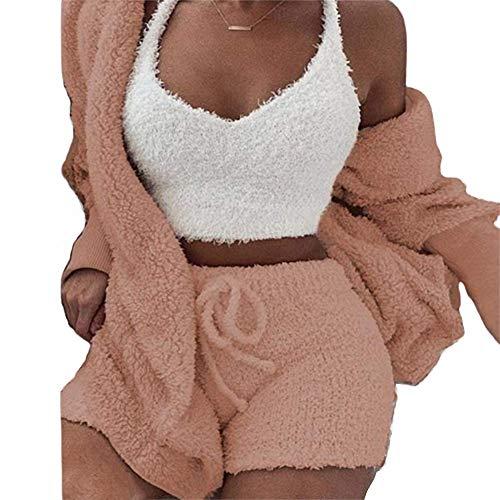 Flauschige Kapuze vorne offen Teddy Coat & Short & Weste Sets, Mode Frauen Casual V-Ausschnitt ärmellose Kurze Weste Sexy Solid Tank Tops,Orange,XL