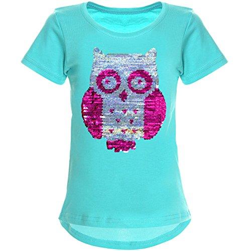 BEZLIT Mädchen Wende-Pailletten T-Shirt Tollen Eulen Motiv 22031 Grün Größe 116