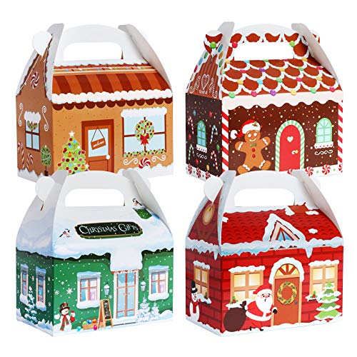 TOMNK 28 Pack Christmas Treat Boxes 3D Xmas House Cardboard Gable Gift Boxes for Candy, Holiday Party Favor Supplies, Crafting and Cookie Boxes 6 x 3.5 x 3.5 Inches