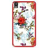 Hapdey silikon Hülle für [ Bq Aquaris E5s - E5 4G ] Design [ Blumenmuster mit Vögeln ] Rot Flexibles TPU