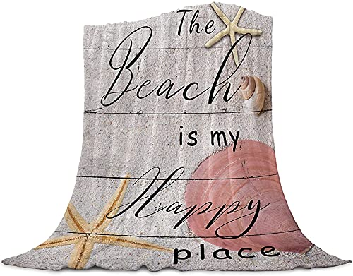 La Playa es Mi Lugar Feliz en La Madera Tirar de la Manta de Franela Manta de Lana, Manta Liviana para Adultos Bebé de la Microfibra de la Siesta Manta para el Sofá, la Cama, el Sofá,40'x50'