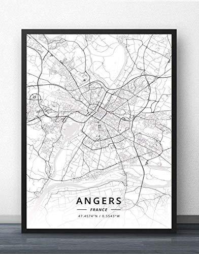 fsafa Angers France City Map Jigsaw Puzzle Desafiante Juego Educativo Intelectual Descomprimir Juguete,En Casa,Bloqueo,Regalo De Cumpleaños,Arte De La Pared,Bonito Conjunto De Regalos,500 Piezas
