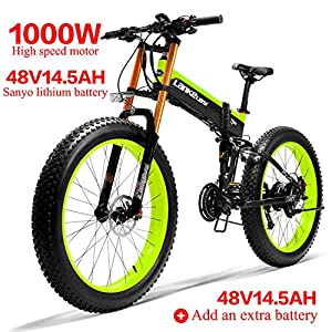 "Electric Bikes LANKELEISI XT750PLUS 48V14.5AH 1000W Electric Bike 26 "" 4.0 Fat Tire Ebike SHIMANO 27 Speed Snow MTB Folding Electric Bike for Adult Female/Male (Green + 1 extra Battery) [tag]"