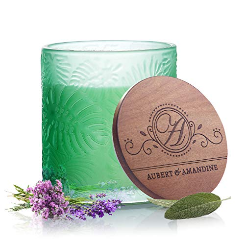 Refresh - Lavender Sage Peppermint Luxury Scented Soy Candle for Stress Relief & Relaxation High Intensity Aromatherapy Pastel Collection (Refresh - Green - Lavender Sage Peppermint)