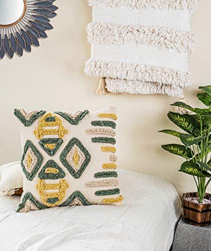 IMPEXART PVT LTD Funda de Almohada Decorativa de algodón Multicolor, Almohada India de 20 x 20 Pulgadas, Funda de Almohada geométrica Peluda para sofá, sofá, casa de Campo, Dormitorio