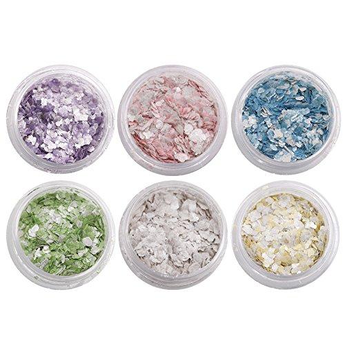 Bluelover Candy Nail Décoration Paillettes Poudre Cute Onirique Manucure Gel UV Rose Jaune Bleu 6 Couleurs