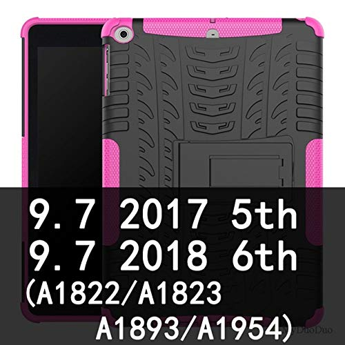 QiuKui Tab Cover For iPad Air Air 2, Tablet Shockproof Armor Anti-knock Shell TPU+PC Stand Bracket Case Cover For iPad 2017 9.7' 2018 5/6th (Color : 2017 rose red)