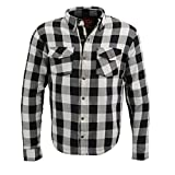 Milwaukee Leather MPM1633 Men's Armored Checkered Flannel Biker Shirt with Aramid by DuPont Fibers - Medium