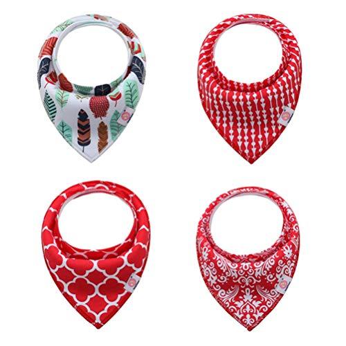 LvRaoo Baby Dreieckstuch Lätzchen 4er Saugfähig Weich Spucktuch Lätzchen Halstücher mit Druckknöpfen für Kleinkinder Jungen Mädchen - Style 24, Eine Größe