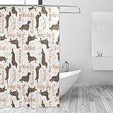 COOSUN Juego de cortina de ducha con textura para perros salchichas de tela de poliéster repelente al agua, juego de cortina de ducha para decoración del hogar con ganchos, 167 x 182 cm