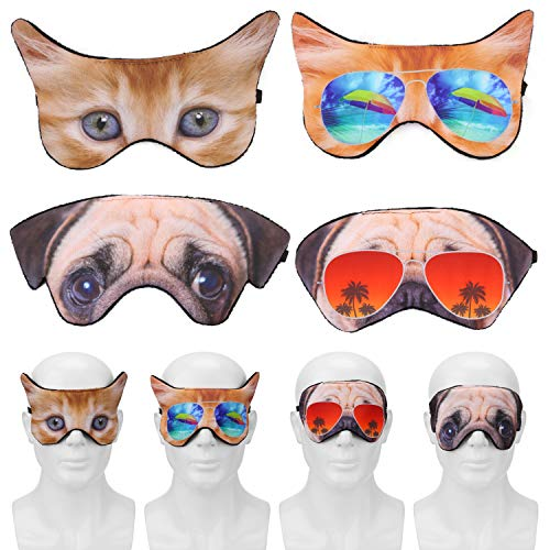 MWOOT Sleep Mask (Pack of 4), Lightweight Soft Funny Eye Mask for Sleeping, Teens Women Unisex Eye Cover with Elastic Strap for Sleepover Pajamas Slumber Party Favors Accessories