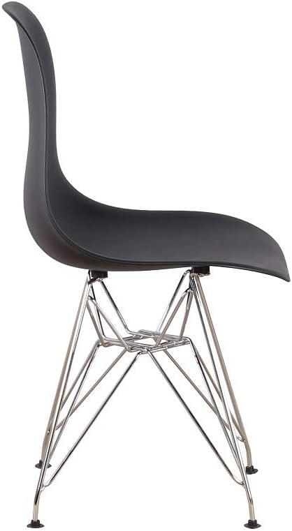 Lot de 4 chaises de salle à manger en métal massif noir avec pieds modernes et rétro Noir