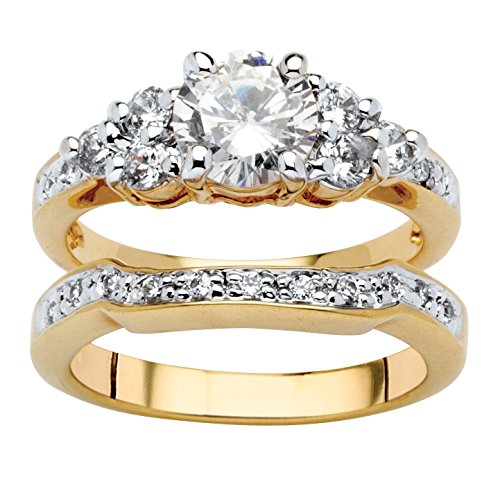 Palm Beach Jewelry 18K Yellow Gold Plated Round Cubic Zirconia Bridal Ring Set Size 9