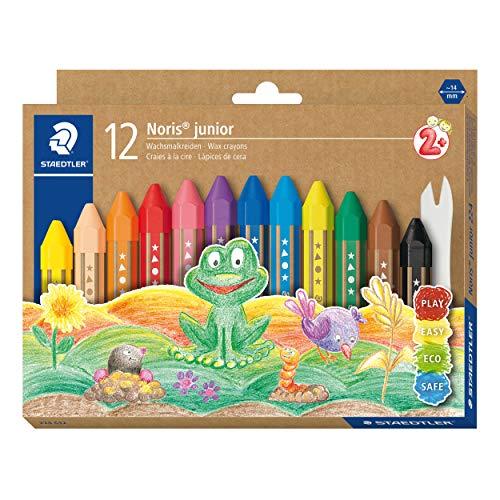STAEDTLER Wachsmalkreide Noris junior 224, perfekt für kleine Kinderhände, extra bruchsicher, Etui mit 12 Farben, 224 C12