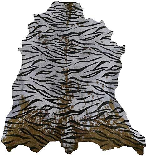 Zerimar Alfombra Piel de Cabra Natural Premium | Medidas: 100x80 cms | Estampada imitación Tigre | Alfombra Salón | Alfombra Salón Grandes | Alfombras de Pelo