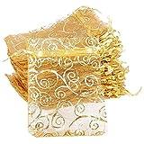 100 Piezas Bolsos de Lazo de Jewelry Bolso de malla para joyería Saquitos Arroz Boda con bolsa de joyería con cordón saco de boda para Joyas Caramelo Dulces Fiesta Bautizo Comunión